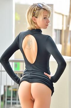 Amy fingering ass in public