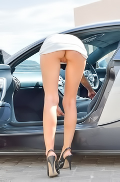 Sexy Kendall stripping by sport car
