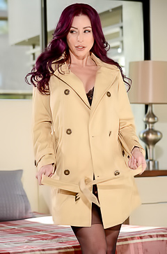 Sexy mommy in coat on naked body