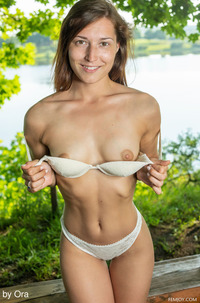 Sexy Fit Girl Medina V Stripping By The Lake