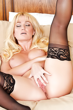 Blonde Angela Sommers in sexy stockings