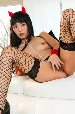 Slutty Japanese masturbating in stockings