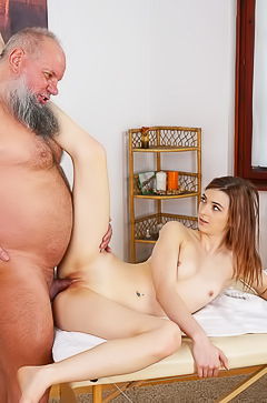 Teen Tera Link playing with old man