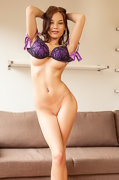 Hot Asian angel Nici Dee looks stunning in black and purple lingerie porn pic gallery
