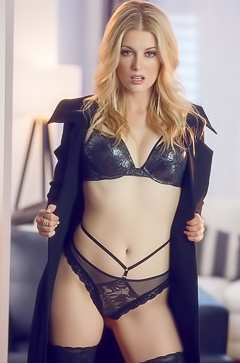 Stunning Charlotte Stokely In Black Stockings