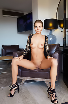 Nordica With Perfect Breasts And Shaved Pussy