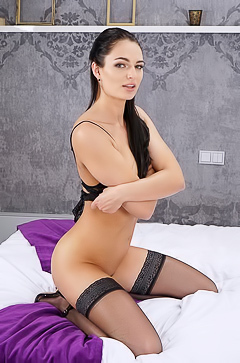 Excited Dark-haired Cutie Leanne Lace