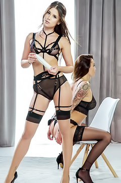 Little Caprice in kinky black lingerie enjoying some oral pleasure