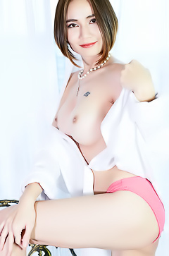 Hot Asian Model Ellie In White