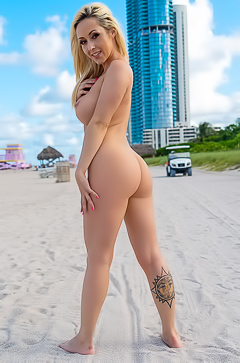 Naked Sexy Babe On Miami Beach